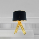 Fabric Drum Night Stand Light Modern 1 Bulb Black/White and Gold Table Lamp with Ladder Base