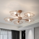 Star Shaped Cage Semi Flush Contemporary Iron 5 Heads Rose Gold Ceiling Mount Light Fixture