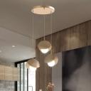 Seashell Dining Table Hanging Lamp Metal 3 Bulbs Modern Multi Light Pendant in Gold