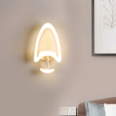 Spade Shaped Wall Sconce Modernism Acrylic LED White Wall Mounted Lighting in White/Warm Light