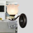 1/2 Heads Prismatic Glass Up Wall Light Farmhouse Black Flower Indoor Wall Mount Lamp