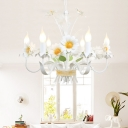 Bouquet Metal Hanging Chandelier Country Style Korean 6 Bulbs Living Room Ceiling Pendant Light in White