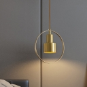 Grenade Bedside Down Lighting Pendant Vintage Metal 1 Bulb Brass Hanging Lamp Kit with Ring