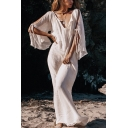 Bohemian Womens Cut Out Sleeves V-Neck Bow Tie Solid Color Long Shift Dress