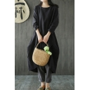 Retro Simple Womens Three-Quarter Sleeve Round Neck Solid Color Linen and Cotton Irregular Hem Maxi Wrap Oversize Dress