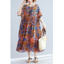 Trendy Vintage Ladies Short Sleeve Round Neck All Over Flower Print Linen Long Pleated Oversize Dress in Orange