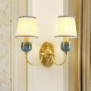1/2-Bulb Wall Sconce Traditional Bedroom Wall Lighting with Barrel White Fabric Shade in Brass
