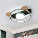 Bear Head Frame Flush Lamp Cartoon Acrylic LED Corridor Flush Mounted Ceiling Light in White/Green and Wood