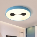 Blue Circle Ceiling Mounted Light Nordic LED Acrylic Flush Lamp Fixture in White/Warm Light for Kids Room