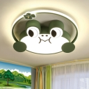 Cartoon Frog Shape Flushmount Lamp Acrylic LED Bedroom Flush Mount Lighting in Green