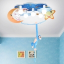 Cartoon Night Sky Metal Flush Light 5 Heads Close to Ceiling Lamp with Dangling Plush Monkey in Blue