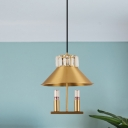 Vintage Cone Hanging Lamp 1 Light Metal Pendant Ceiling Lighting in Brass with Crystal Accent