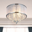 4-Head Fabric Flush Mount Light Simple Chrome Drum Bedroom Ceiling Lamp with Clear Crystal Drop