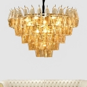 Vintage Cone Shape Drop Lamp 7-Bulb Amber Glass Chandelier Pendant Light for Living Room