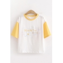 Casual Chinese Letter Colorblock Contrast Round Neck Short Sleeve Regular Fit Graphic T-Shirt