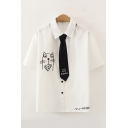 Stylish Womens Letter Husky Cartoon Cat Embroidered Button down Short Sleeve Spread Collar Fitted Graphic Shirt with Tie