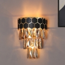 Retro Style 4 Tiers Flush Mount 1-Light Crystal Prism Wall Sconce Light with Honeycomb Element in Black