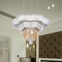 Layered Living Room Chandelier Traditionalism Crystal LED Chrome Hanging Light Fixture