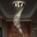 Curved Living Room Flushmount Modernist Clear Crystal Ball 6 Bulbs Chrome Flush Ceiling Light