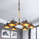 3/5/6-Light Dome Hanging Chandelier Farmhouse Black and Wood Metal Pendulum Lamp for Living Room