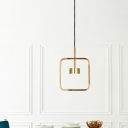 Metallic Square-Frame Suspension Lamp Modernist LED Gold Ceiling Pendant Light with Shade/Shadeless
