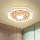 Hexagon Porch Ceiling Flush Modernist Acrylic LED White Flush Mount Light with Crystal Accent