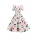 Audrey Hepburn Style Womens All over Floral Printed Short Sleeve Bow Tie Turn Down Collar Midi Pleated Swing Dress