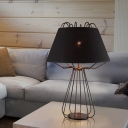 Iron Frame Nightstand Light Modernist 1 Bulb White/Black Finish Table Lamp with Fabric Shade
