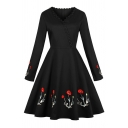 Vintage Ladies Floral Embroidered Long Sleeve Lace Trimmed Surplice Neck Midi Pleated Flared Dress in Black