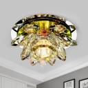 Lotus Foyer Flush Mount Light Minimalist Crystal LED Chrome Ceiling Fixture in Warm/White Light