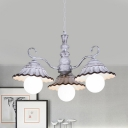 3/5 Lights Pendant Chandelier Pastoral Flared Ceramic Hanging Ceiling Light in White with Curved Arm