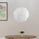 Modern Globe Feather Hanging Chandelier Fabric 3/4 Lights Bedroom Ceiling Pendant Lamp in White