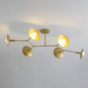 Plate Semi Flush Mount Chandelier Modern Metal 6 Heads Gold Finish Flush Ceiling Light with Branch Design
