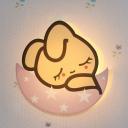 Cartoon Sleeping Rabbit Wall Light Sconce Metal Girls Room LED Wall Mounted Lamp in Pink, White/Warm Light