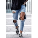 Stylish Chic Mens Mid Waist Ripped Ankle Length Relaxed Jeans in Light Blue