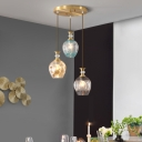 Tulips Multi Light Pendant Modernist Tan-Blue-Grey Dimpled Glass 3 Lights Gold Hanging Lamp Kit
