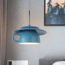 Ribbed Coffee Cup Pendant Light Fixture Nordic Ceramics 1 Light Grey/Green/Dark Blue Hanging Ceiling Lamp