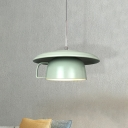 Ceramics Coffee-Cup Ceiling Hang Fixture Macaron 1-Head Green Finish LED Suspension Lamp