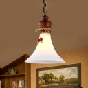 Cream Glass Brown Suspension Lamp Flared 1-Head Traditional Hanging Ceiling Light with Wooden Cap
