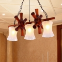 Bell Dining Room Hanging Island Light Traditional Cream Water Glass 3-Head Brown Hanging Lamp Kit with Wood Wheel Deco