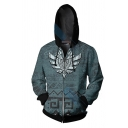 Cool Anime Boys Long Sleeve Drawstring Zipper Front Geo Cartoon 3D Print Contrasted Relaxed Cosplay Hoodie in Blue