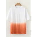 Casual Womens Short Sleeve Crew Neck Ombre Colorblock Longline Relaxed T Shirt