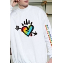 New Trendy Girls Long Sleeve Mock Neck Colorful Letter Heart Lip Floral Printed Relaxed Pullover Sweatshirt