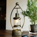 1 Head Kerosene Table Light Warehouse Style Brass Finish Clear Glass Desk Lamp with Oval Metal Frame