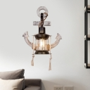 1 Light Clear Glass Wall Mounted Lamp Loft Style Black Lantern Restaurant Wall Lighting with Wood Anchor Design