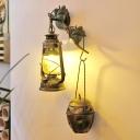 Retro Kerosene Wall Mounted Lighting 1 Light Clear Glass Wall Light Sconce in Brass with Metal Teapot Deco