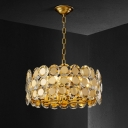 Drum Crystal Hanging Chandelier Contemporary 8 Bulbs Dining Room Ceiling Pendant Light in Brass