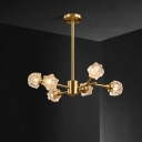 Brass 6 Heads Crystal Chandelier Contemporary Metal Sputnik LED Hanging Ceiling Lamp