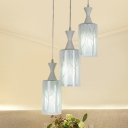 Cylindrical Cluster Pendant Light Modern Opal Glass 3-Light White Hanging Lamp Kit with Tree Pattern