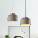 1 Bulb Bowl Pendant Lighting Vintage Grey Cement Hanging Ceiling Lamp with Wood Top
